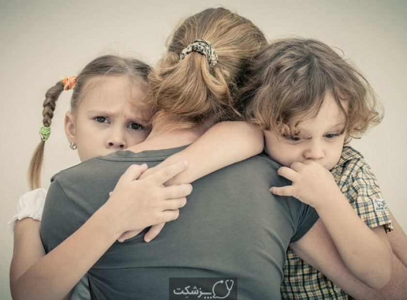 27421988 - sad children hugging his mother